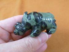 (Y-Rhi-722) green black Rhino rhinoceros gemstone Figurine carving I love rhinos