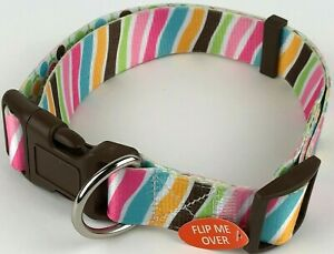 "Top Paw Adjustable Collar Stripes Flowers Large 1 1/4"" Wide 18-26"" New W/O Tags"