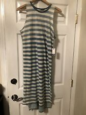 NSF Cotton Chambray Striped Dress Small Blue $248 NWT
