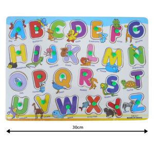 Kids Children Peg A-Z Jigsaw Puzzle Toy Baby Developmental Wooden Cartoon Toy Gi