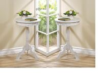 2 small WHITE distressed Round Shabby baroque bedside pedestal side End Table