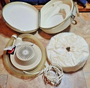 Vtg General Electric HD-2A Deluxe Portable Soft Bonnet Hair Dryer w/ Carry Case