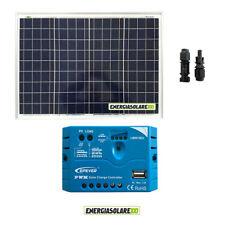 Kit Solare Fotovoltaico pannello 50W 12V Regolatore PWM 5A Camper Casa Nautica