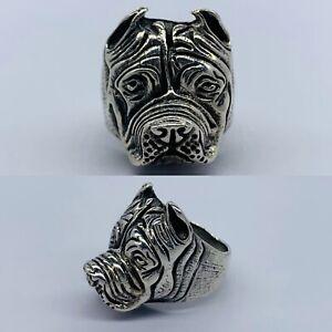 New 925 Sterling Silver Pitbull Ring