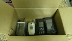 A BOX OF OLD CELL PHONES (PARTS)