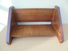 Small vintage wooden book trough, grooves to base, angular sides