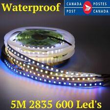 5m 600 LED's strip 120L/M SMD 2835 White Waterproof Flexible Tape 8mm PCB DC12V