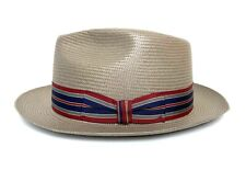 Vtg STETSON Straw Fedora 7 3/8 Panama Hat whippet Summer rockabilly Jazz trilby