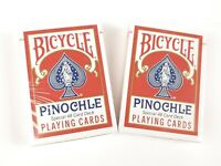 Bicycle Pinochle Playing Cards 2 Special 48 Card Decks NEW SEALED RED