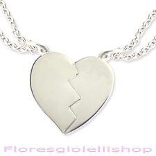 Ciondolo cuore spezzato con iniziali incise in argento con due collane rolò