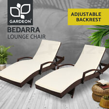 Gardeon 2pc Sun Lounge Wicker Lounger Outdoor Furniture Day Bed Rattan Patio