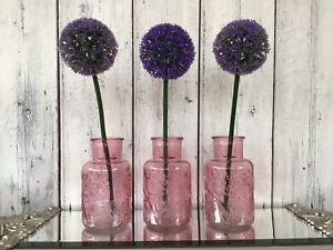 Set of 3 Brand New Stunning Decorative Floral Design Glass Vases Home Decor