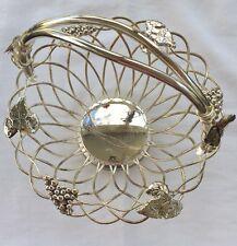 Vintage Godinger Basket Silver Plated Wire Vine Grapes Leaves