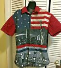 Mens American Flag Stars Stripes Statue of Liberty Patriotic Sz L Slim Fit