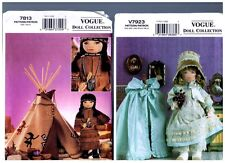 """VOGUE 7813 & V7923 PATTERNS Doll Clothes & Native American 18"""" American Girl"""