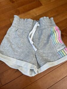 Justice Girls Gray Terry Midi Shorts High Elastic Waist Size 8- Nwot
