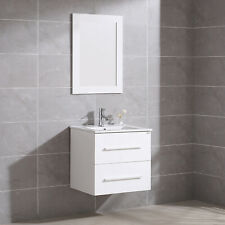 "24"" Wall Mount Bathroom Vanity Floating Sink Cabinet + Mirror & Faucet Single"