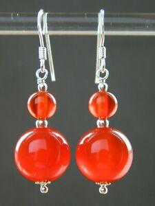 Carnelian Agate Gemstone Beads, Solid 925 Sterling Silver Handmade Drop Earrings