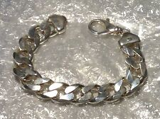 SILVER HEAVY WEIGHT CURB LINK BRACELET - 9""