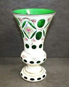 Vintage Moser Bohemian Czech Mantle Vase White Floral Green Glass