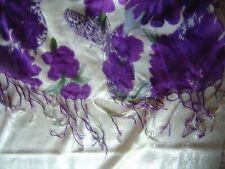 "Large Shawl or Stole PURPLE Flowers On White Background 68"" x 24"" Viscose"