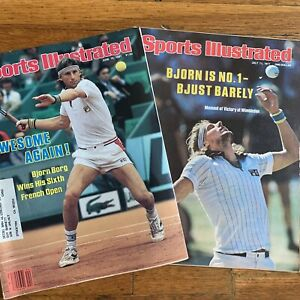 Lot of 2 Vintage Sports Illustrated Magazines Bjorn Borg Covers 1977 1981