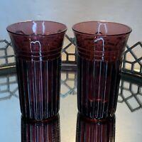 Vintage Hazel Atlas Glass Amethyst 5 in New Century 9 ounce Tumbler Lot 2 #EL9