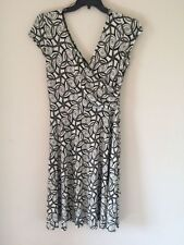 LONDON TIMES CREAM BLACK FLORAL WRAP Dress Formal Evening size 14