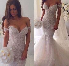 Lace Tulle Portrait/Off-Shoulder Sleeve Wedding Dresses