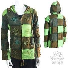 Nepal Cotton Fair Trade Hippie Embroidered Patchwork Hoodie Jacket Coat Large 02