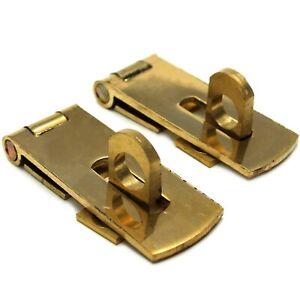 2x SOLID BRASS HASP & STAPLE 38mm Small/Mini Door Cupboard/Cabinet Strap Lock