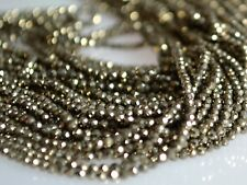 Natural Gemstone Tiny Pyrite Beads Golden Color Faceted Round 2-2.5mm  #2036