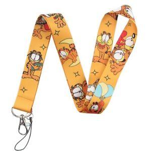 Garfield The Lazy Cat Cartoon Themed Orange ID Holder Lanyard Keychain