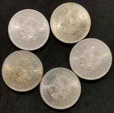 Lot of 5 Uncirculated 1948 Mexico Silver Coins Cinco Pesos Cuauhtemoc
