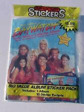 1996 First Edition Baywatch Fans Sticker Collector Album & 10 Sticker Pks SEALED