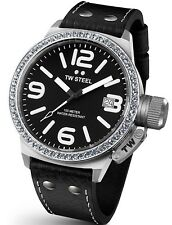 TW Steel Watch * TW37 Canteen Crystals Black Leather 45MM COD PayPal #crzyj