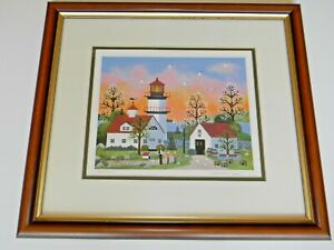 """Jane Wooster Scott """"Keeper of the Lighthouse"""" Numbered Signed Framed Lithograph"""
