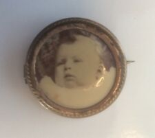 Vintage Mourning Brooch Lapel Pin Infant Baby Photograph Gold Filled C-Clasp