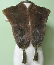 Vintage 1920'S Authentic Ladies Fur Collar W/ Frog And Tassel Trim