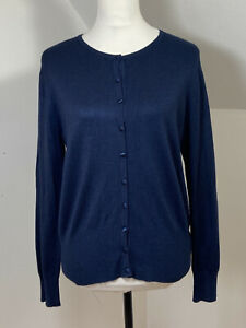 M & S Size 14 Cardigan With Stretch Satin Button Down Front Round Neck