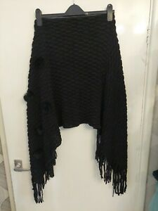 Ladies  Black Woolen Shawl. Furry Balls Feature.  Fringes. One Size. See Pics...