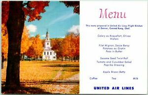 1950s UNITED AIR LINES In-Flight Menu Postcard New England / Church View Autumn