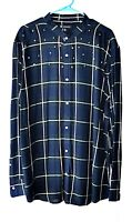 INC Mens Size XXL Plaid Long Sleeve Shirt Banded Collar Star Studs Pearl Snaps