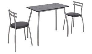 Home Leon Black Table & 2 Black Chairs