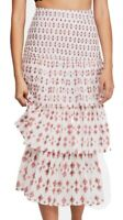 Free People Womens Skirt White Ivory Size 2 Tiered Print Side-Zip $128 363
