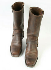 Frye Harness 12 R USA Womens Brown Leather Mid Calf Biker Boots UK 7 US 9 M