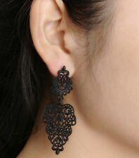Beautiful Black Dangle Chandelier Earrings Stud For Pierced Ears Flower UK E113