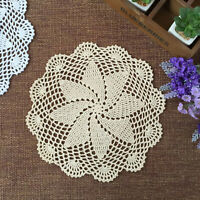 Set of 4 Dining Table Place Mats Flower Placemat Round Cotton Crochet Lace Doily