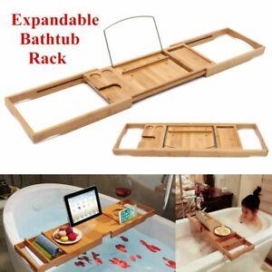 Bathtub Tray Caddy Storage Rack Wooden Shelf Bathroom Tablet Book Holder Stand