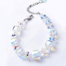 Bracelet Vintage AURORA BOREALIS Bracelet Crystals SWAN ITALY MADE 18K WhiteGold